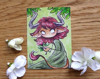 PRINT ACEO - Anita the horned girl