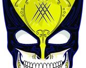 Wolverine Yellow Mask Sugar Skull 3x4 Vinyl Sticker