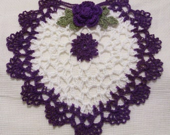 crocheted heart doily purple and white  handmade