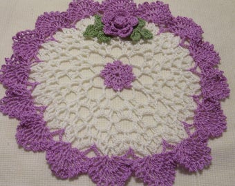 crocheted doily purple and white  handmade