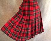 Vintage 70's Plaid Skirt, Pleated Red, Green, Blue, Black Tartan, Preppy, Wool, Women's Small to Medium, Waist 27