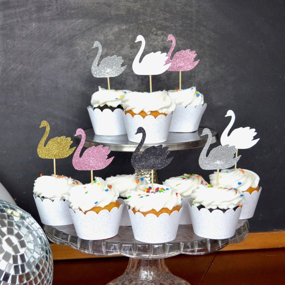 Swan Cupcake Toppers - In your choice of glitter colors!
