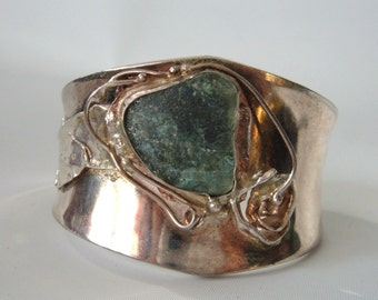 Jackie Cohen Abstract Modernist Roman Glass Sterling Silver Cuff Bracelet Wide
