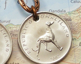 Somaliland, Authentic Coin Earrings --- Fast Friends --- Greyhound - Hunting Dog - Best Friend - Dogs Rule - Puppy Love - Dog Walker