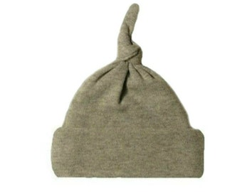 Gray Knotted Baby Hat. 100% Cotton Knit. Double Thick with a Built in Cap to Stay on Baby's Head. 7 Preemie, Newborn and Toddler Sizes