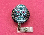 Day of the Dead Sugar Skull heavy duty steel cord Goth Retractable ID Holder Badge Reel Nurse RN Convention CNA Technician Belt Clip