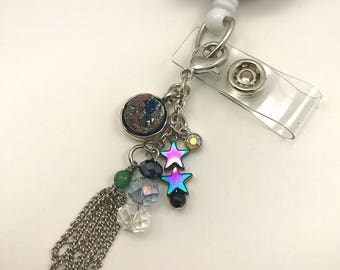 Badge Reel Charm Accessories Bling Nurse CNA RN Medical ID Attachment Keychain Dangle Clip Beaded Glass Lobster Clasp Geode Star