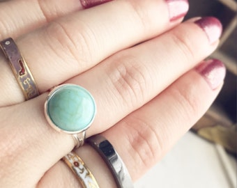 Faux Turquoise Ring / Robins Egg Blue Stone Look Adjustable Silver Boho Bohemian Gypsy Style Bridesmaids Bridal Party Wedding Gifts Favors