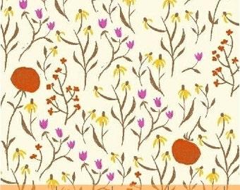 SALE *** Far Far Away Wildflowers in Orange 1 yard - by Heather Ross for Windham Fabrics