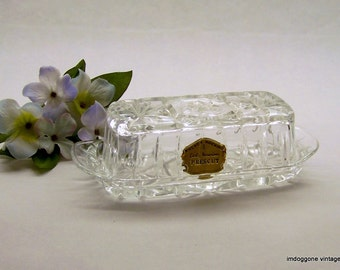 Vintage Anchor Hocking 'Prescut Clear' Butter Dish with Lid, Star of David Butter Dish, EAPG Quarter Pound Butter Dish with Original Label