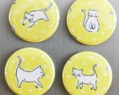 "Perrrrfectly Sweet Kitty Cat Decor,  sealed upcycled fabric button magnet set of 4 - 1.5"" (1 1/2 inch, 38mm)"