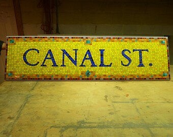 NYC Subway Mosaic Glass Sign or Install - Canal St - New York City