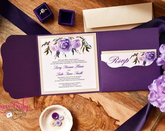 Sample Wedding Invitation- Purple, Lavender, Champagne, Ivory  Watercolor Roses Die Cut Pocket Folder with custom floral envelope liner