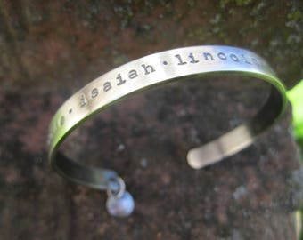 Narrow Sterling Silver Cuff Bracelet.  Custom Mother's bracelet with your loved ones names.