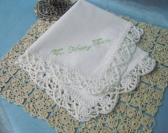 For Happy Tears Handkerchief, Hanky, Hankie, Hand Crochet, Lace, Ladies, Mother of the Bride, Maid of Honor, Bridesmaids, Ready to ship