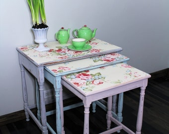 Nesting tables/ cottage style/ french country