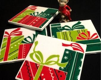 FAB SALE Christmas Presents Vintage 30s/40s fabric on Tile - Retro Coasters - Mid Century Christmas - Set of 4