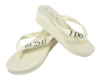 Black Glitter and Ivory or White I Do Wedding Date Wedge Flip Flops for the Bride