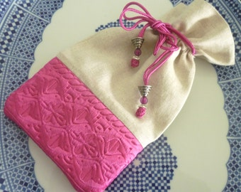 Moroccan bag,  drawstring pouch, pink,  Moroccan embroidered fabric, linen evening purse / bag , pink yarrow