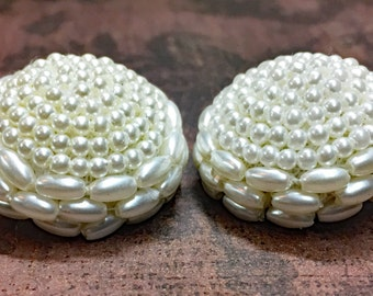 Vintage Pearl Seed Bead Buttons - Vintage Wedding Buttons - Hand Beaded Buttons - Bridal Buttons - Craft Buttons - B29 - Set of 2 Buttons