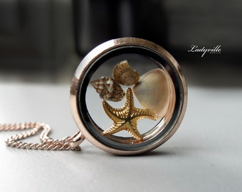 Rosé Gold Locket with Shells and a Starfish