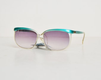 Vintage 70s Blue & Gray Gradient Sunglasses / 1970s Sunglasses by YSL