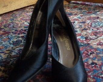 Vintage 80s 1980s 90s 1990s Yves Saint Laurent Black Satin 3 Inch Heel Pumps Size 7