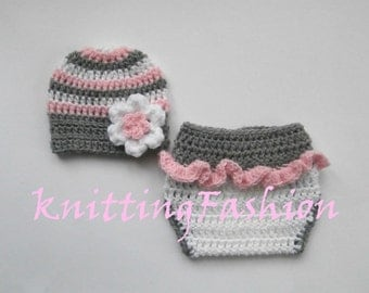 Baby Girl Coming Home Outfit_ Baby Girl Stripe Hat  and Diaper Cover_Newborn Girl Crochet Outfit _Newborn Baby Photo Props