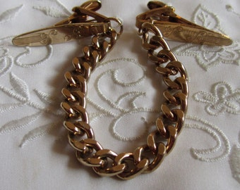 Vintage Gold Tone Sweater Guard with Swirls, Tiny Leaves and Lines