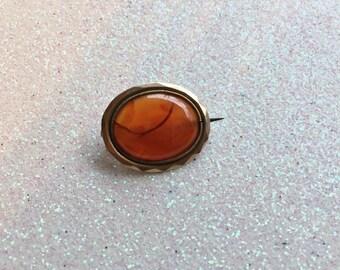 Georgian Moss Agate Brooch - Bonnet, Veil, Lace or Fichu Pin
