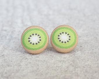 Kiwi Fabric Button Earrings