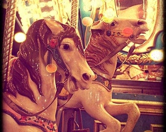 Nursery Photograph, Fine Art Photography, Carnival, Horses, Merry Go Round, Lights, Home Decor, Color, Print, Photo, Animals, Summer, Kids