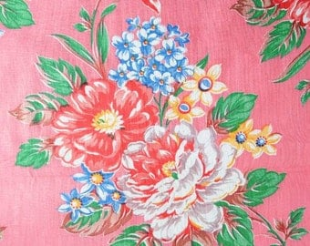 Antique 1930's Fabric - Bright Floral on Pink - 37 x 34 inches