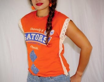 Gators crochet edging eith 1970s patches tee-ooak jersey cotton size small/Medium