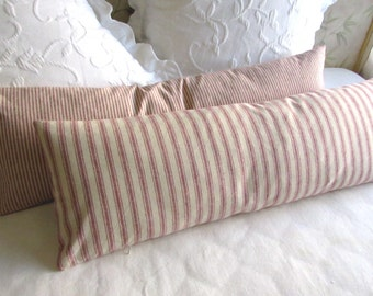 very french ticking bolster pillow daybed size 11x36 in 1/5 inch red on neutral stripes