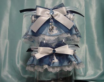 UNC Tarheels Wedding Garter Set/Blue on White