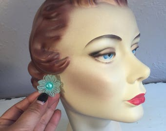 Tropical Thoughts of You - Vintage 1950s Aqua Blue Turquoise Soft Plastic Double Floral Clip Ons - Rare