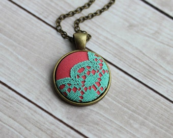 Mint And Coral Jewelry, Colorful, Cute Necklace, Mint Coral Wedding, Round Small Pendant, Tiny Scalloped Lace Necklace, Neon, Unique Gift