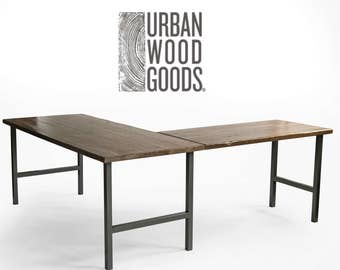 Modern Farmhouse Wood and Steel L shape desk. Custom and handmade.  Choose leg style and wood finish.