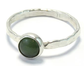 Jade Cabochon Sterling Silver Stacking Ring