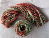 Strawberry Fields, Hand Dyed, Hand Spun on drop spindle, 3oz, 105 yards, merino, bamboo silk and Angelina, luxury, textured, yarn