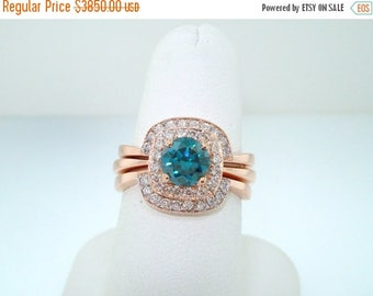 ON SALE 14K Rose Gold Blue Diamond Engagement Ring and Wedding Band Sets 1.50 Carat HandMade Bridal Sets