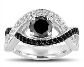 ON SALE Fancy Black and White Diamond Engagement Ring 1.52 Carat 14k White Gold Unique Halo Pave Handmade Certified