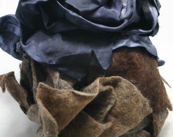 Fabric scraps, handmade wool felt, hand dyed silk fabrics