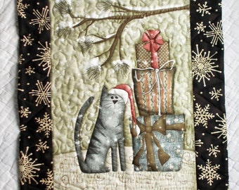 Santa Cat Quilted  Wall Hanging