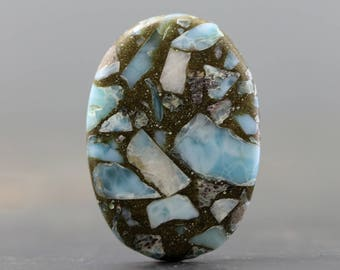Larimar & Copper Mosaic Stabilized Gemstone Cabochon (20623)