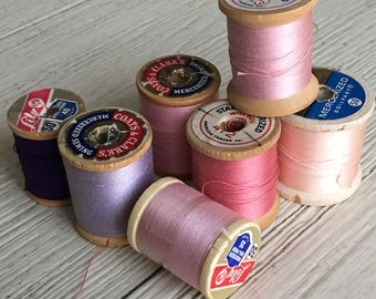 Vintage Wooden Spools Pink, Lavender, Purple Thread Lot