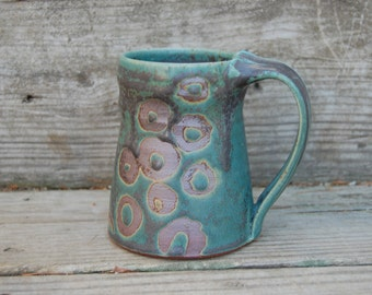 Turquoise Mug with Circles, Cup, 12 ounces, hand thrown stoneware by Jennie Blair