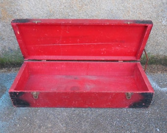 Vintage tool box Red wood chest pocket handles dovetail Supply storage lidded Primitive rustic