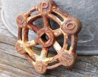 Vintage valve handle cast iron POWELL rustic chippy industrial salvage repurpose restoration hardware knobs supplies